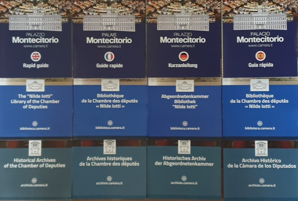 Trova on-line i depliant di Palazzo Montecitorio, della Biblioteca e dell'Archivio storico in 5 lingue